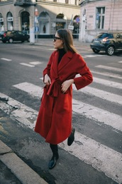 jestem kasia,blogger,jewels,coat,sunglasses,bag,shoes,red coat,winter outfits