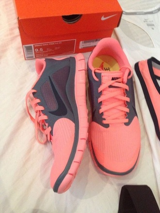 shoes nike coral sneakers cute athletic grey
