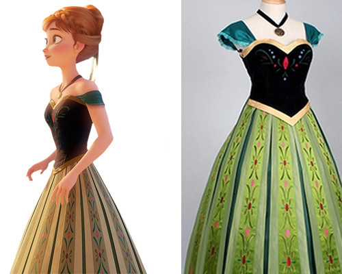 Frozen Princess Anna Cosplay Costume Green Coronation Embroidery [Anna 210] - $134.00  Elsa costume - Custom Elsa Dress & Frozen Princess Anna Cosplay Costume Green Coronation Embroidery ...