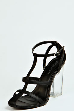 Sarah Peeptoe Strappy Perspex Heels at boohoo.com