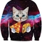 3d cat print round neck long sleeve sweatshirt