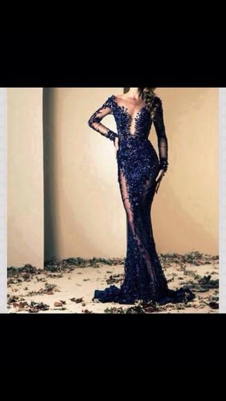 navy dress prom dress style lace dress dress lace mesh v neck prom