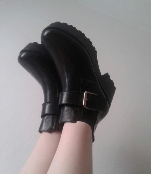 shoes grunge black boots