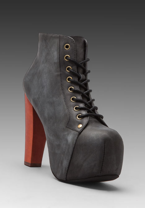 Jeffrey Campbell Lita Black Distressed Leather Lace Up Platform Ankle Bootie | eBay