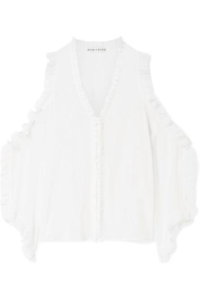 blouse ruffle cold silk top