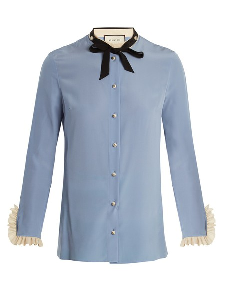 gucci shirt silk light blue light blue top