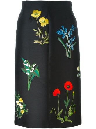 skirt embroidered floral black