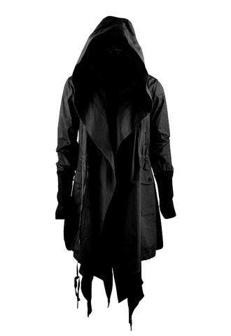 coat black coat cowl pea coat fashion fashion coat long coat trench coat jacket clothes gothic coats black sweater hooded coat hooded jacket hooded army green drab green hood