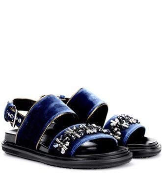 velvet sandals embellished sandals velvet blue shoes