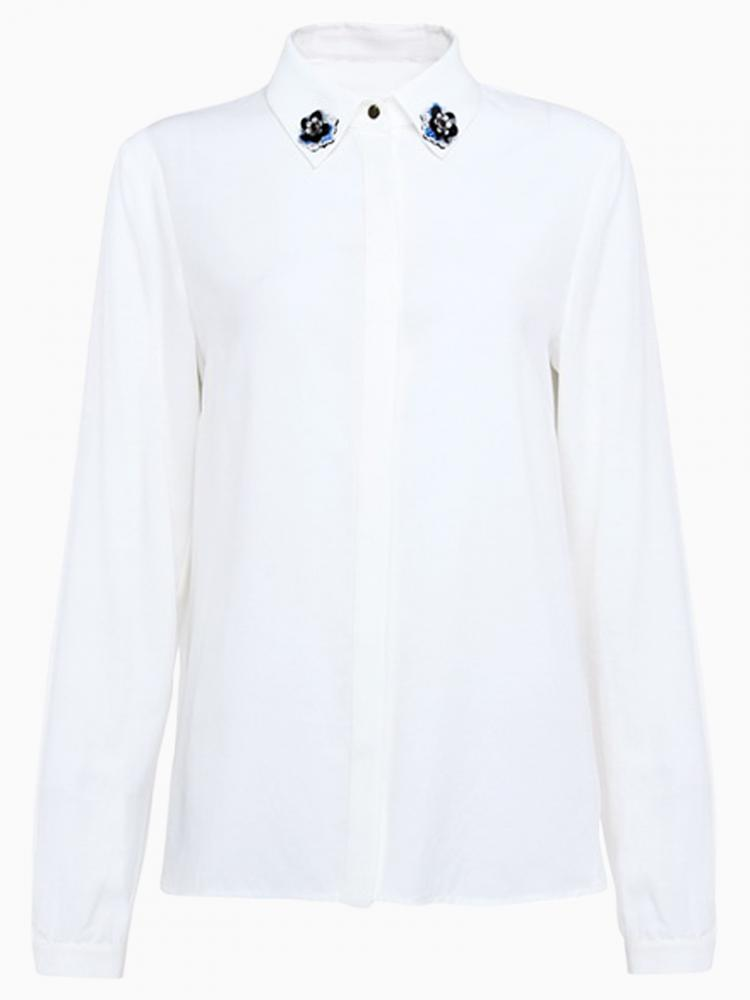 Beads Flower Detail Shift Shirt in White | Choies
