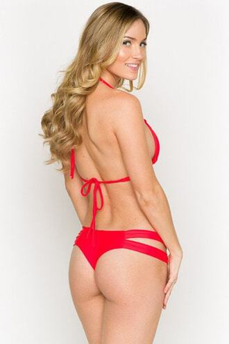 top bikini bikini bottoms bikini top brazilian bikini cut-out halter top montce swim montce swimwear red skimpy triangle swimwear best seller bikiniluxe