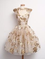dress,gold,leaves,elegant,original,creative,flowers,design,prom,prom dress,prom dress short,short,pale with gold leaves,short golden dress,gown