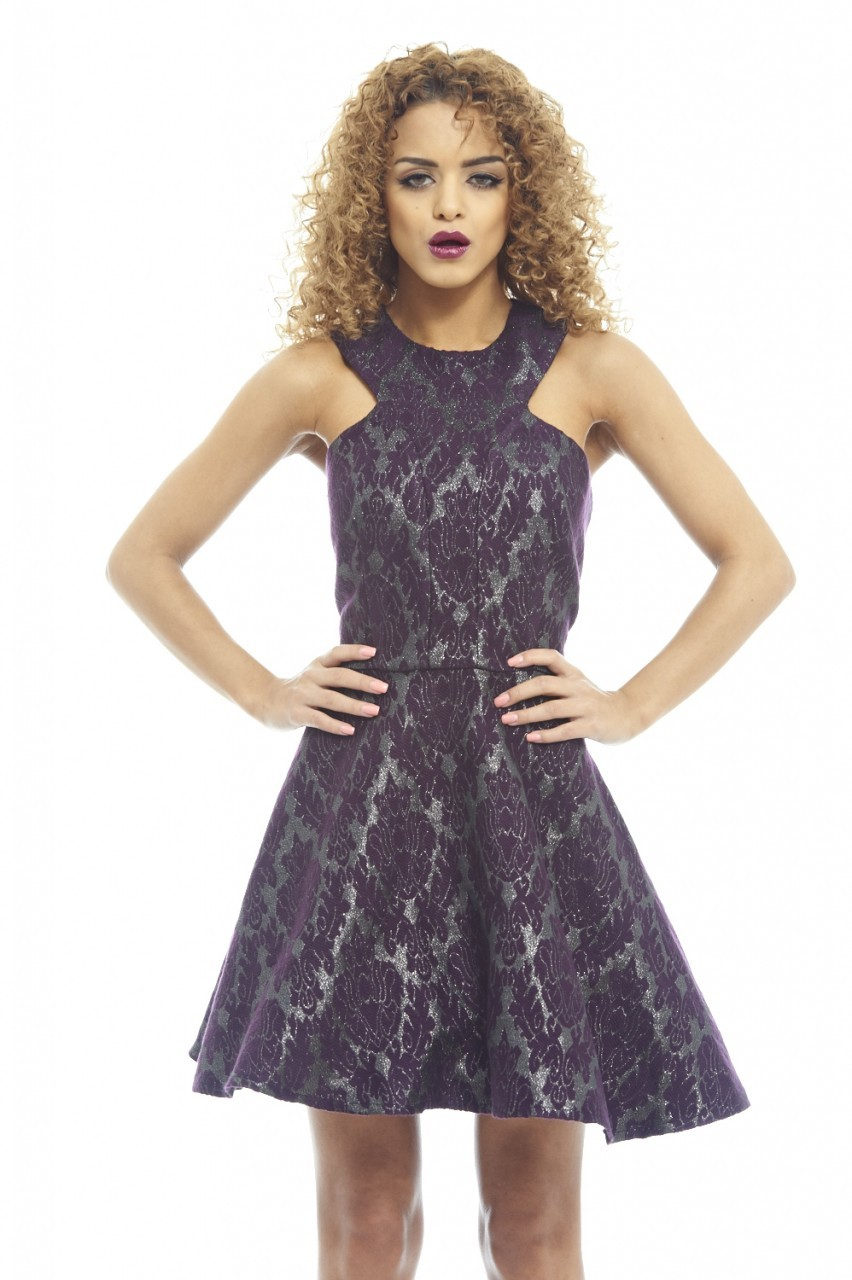 Purple jacquard metallic kick out skater dress