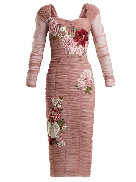Dolce & Gabbana dress tulle dress embroidered floral cotton pink