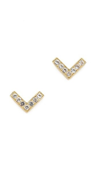 earrings stud earrings gold white jewels