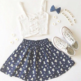 top tank top crop short white lace bow bows straps daisy summer spring skater skirt navy floral flowers converse hipster tumblr