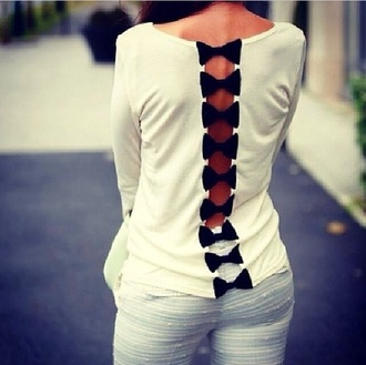 shirt bows pants black and white long-sleeve blouse white blouse gorgeous fashion style t-shirt