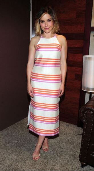dress striped dress stripes sophia bush sandals midi dress