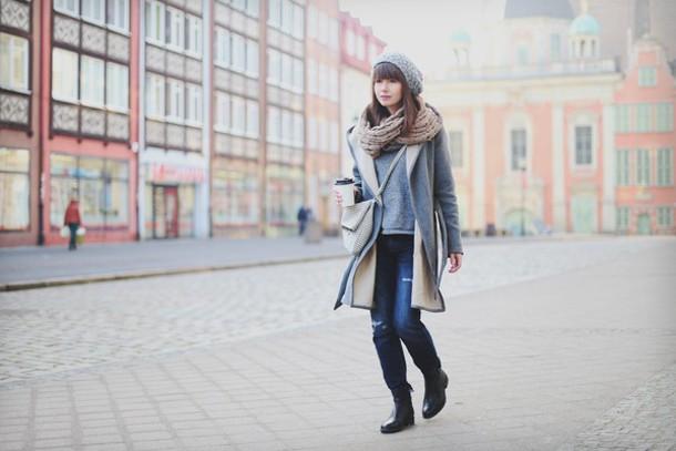 kapuczina blogger grey coat blouse coat pants shoes bag