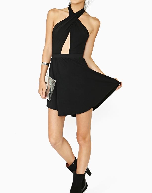 Cross backless irregular dress