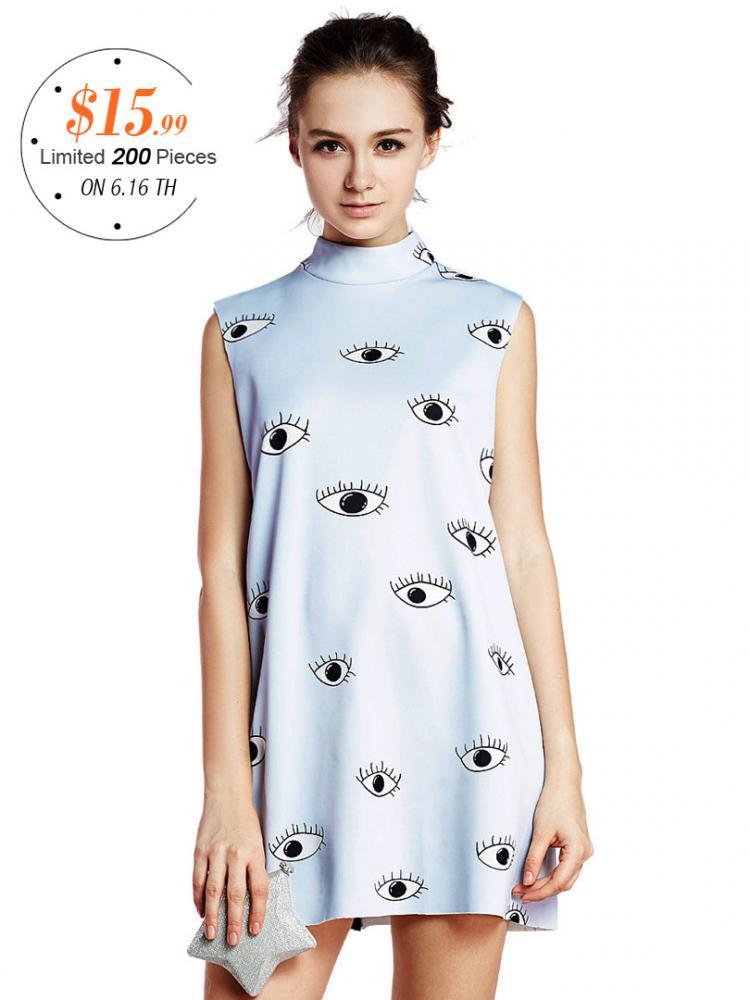 Choies Limited Edition Eyes Print Sleeveless Dress   Choies