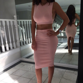 top pink crop tops two set two-piece skirt