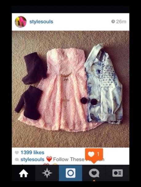 dress pink dress denim jacket