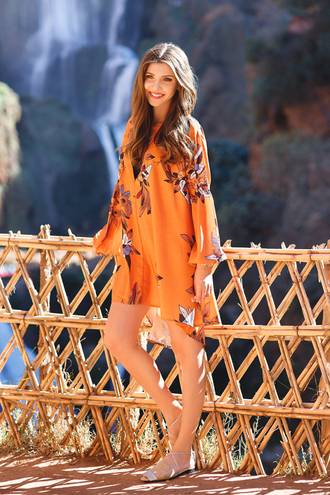 the mysterious girl blogger printed dress orange dress