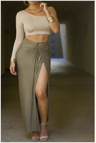 top crop tops off the shoulder neutral taupe long sleeve crop top beige
