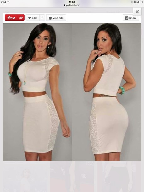 jumpsuit white crop tops two-piece twopiecesuit dress