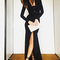 Long sleeve slit mermaid evening dress black