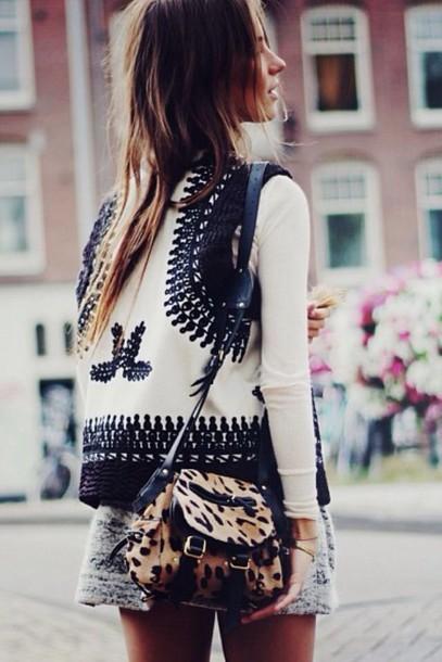 jacket cross-stitch cream vest girl winter coat top boho jacket boho white jacket bag printed jacket leopard print animal print animal print bag