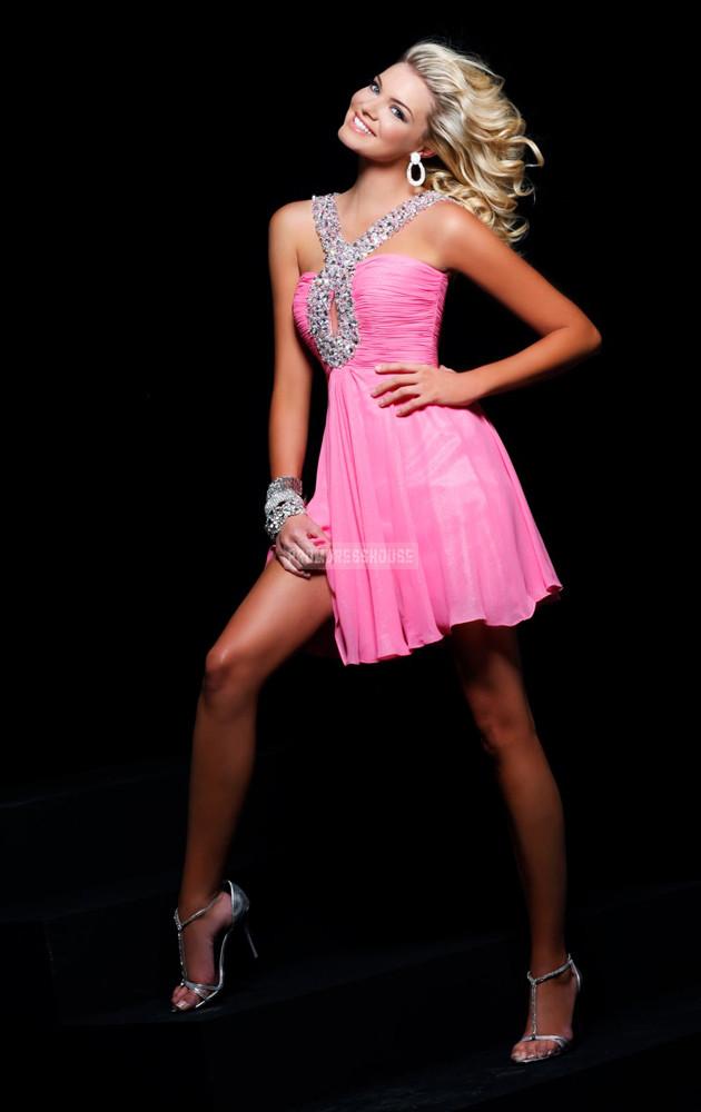 Beading Chiffon Natural Waist Keyhole Straps Pink Prom Dress - Promdresshouse.com