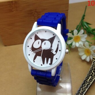 jewels watch cats blue fashion cute kawaii teenagers trendy black cat beautifulhalo
