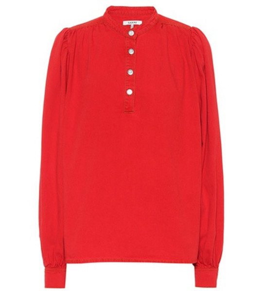 Ganni Cotton canvas top in red