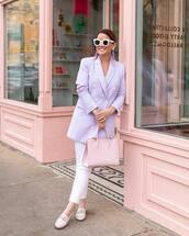 jacket,blazer,pants,white pants,loafers,handbag,sunglasses,earrings