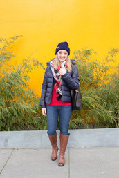 avecamber,blogger,scarf,hat,coat,sweater,shoes,bag,beanie,boots,brown boots,tartan scarf