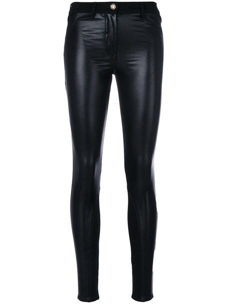 VERSACE jeans skinny jeans women spandex leather cotton black