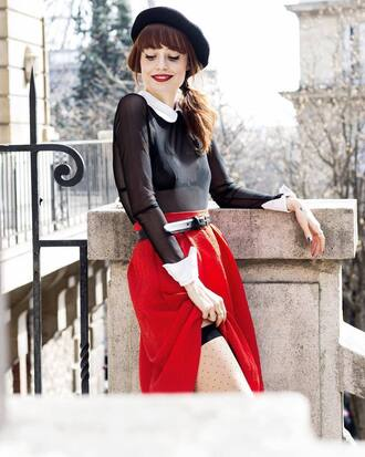 skirt french girl hat beret red skirt tights top black top see through see through top collar