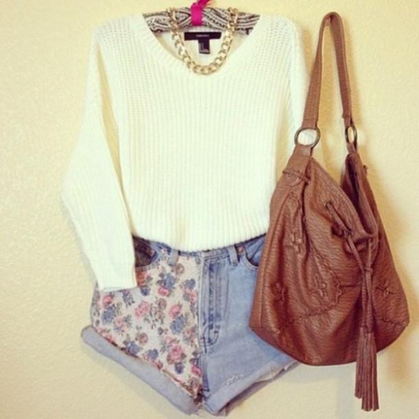 shorts floral beautiful necklace bag shirt fall sweater likeforlike