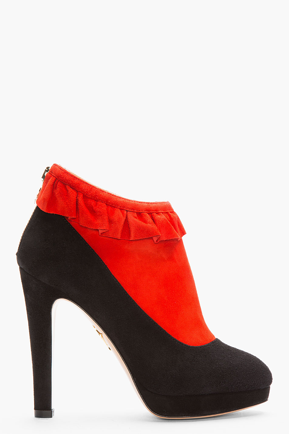 Charlotte olympia red bicolor suede trompe loeil ruffled emily boots