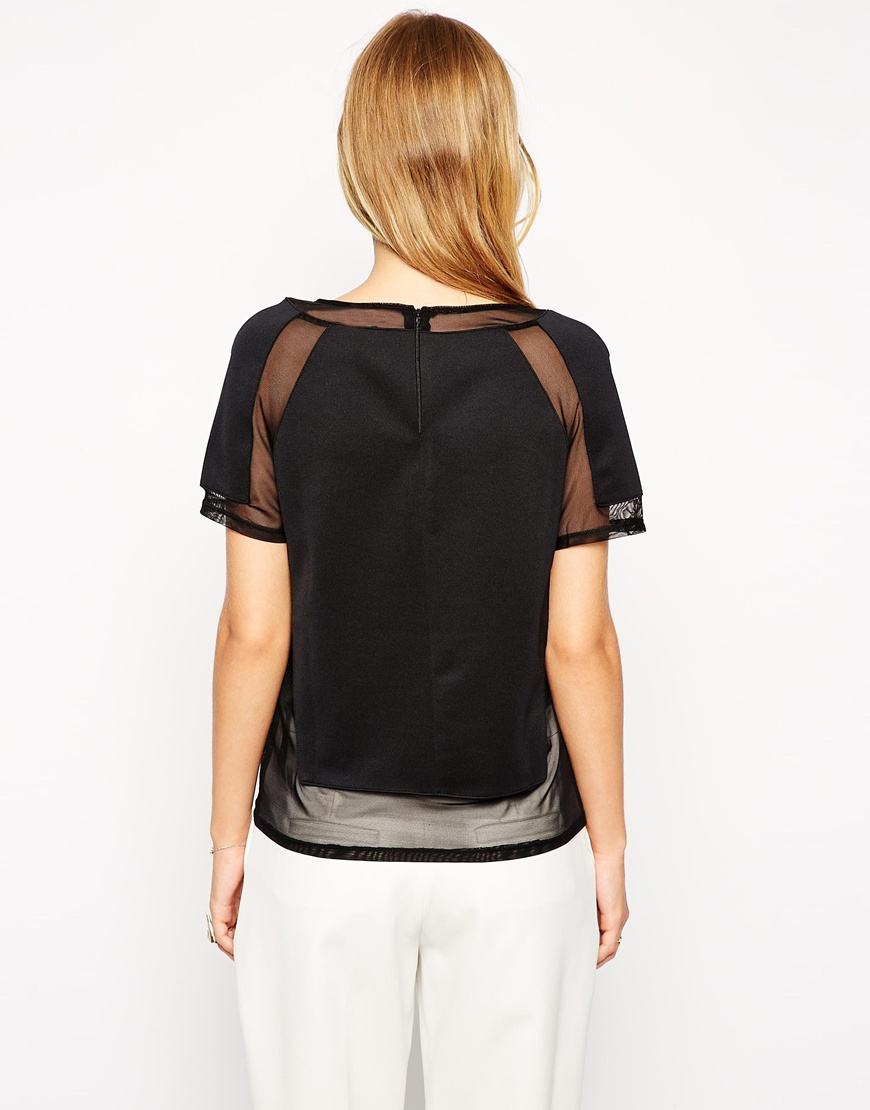 Asos top in smart fabric with sheer inserts at asos.com