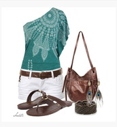 shirt,top,off the shoulder,turquoise,pattern,one sleeve,flowy sleeve,shorts,white shorts,white,turquoise top,belt,sandals,brown,bag,purse,earrings,peacock earrings,feather earrings,bracelets,clothes,outfit,indie,blouse
