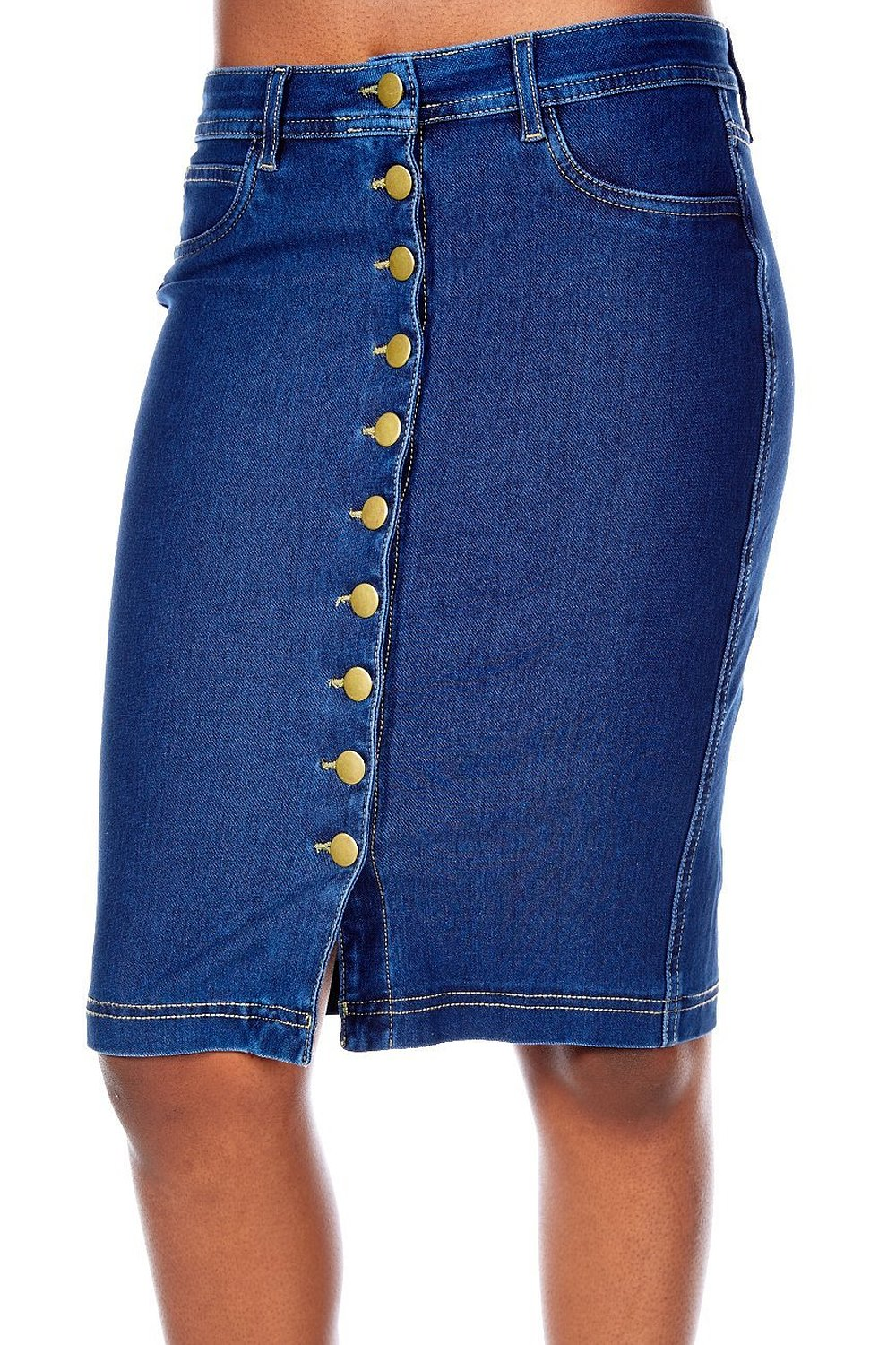 Front Button Denim Midi Knee Length Bodycon Pencil Skirt 5000 at ...
