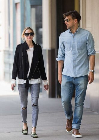 jeans jacket flats olivia palermo sunglasses top spring outfits spring blogger skinny jeans
