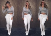 leggings,iskra lawrence,iskra,grey,white,skinny,fat,sexy,long sleeves,cleavage,sneakers,abs,thick as fuck