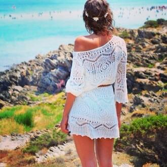 dress white summer outfits brown belt beach summer dress floral headband
