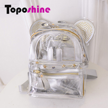 Cheap Women Backpack Outside Transparent PVC Inside PU Leather ...