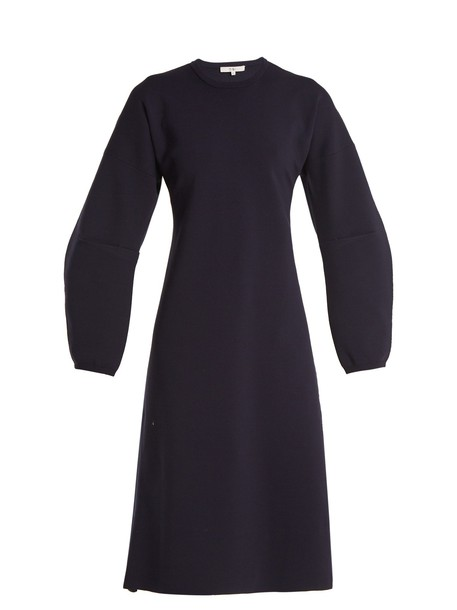 Tibi dress wool knit navy