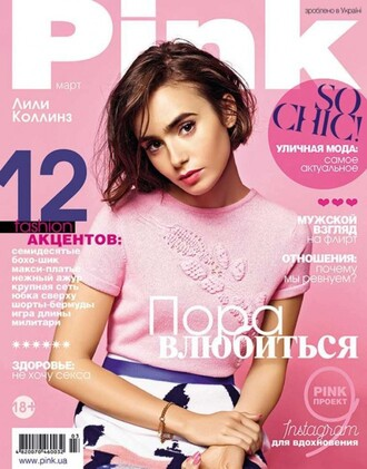 top skirt lily collins pink editorial